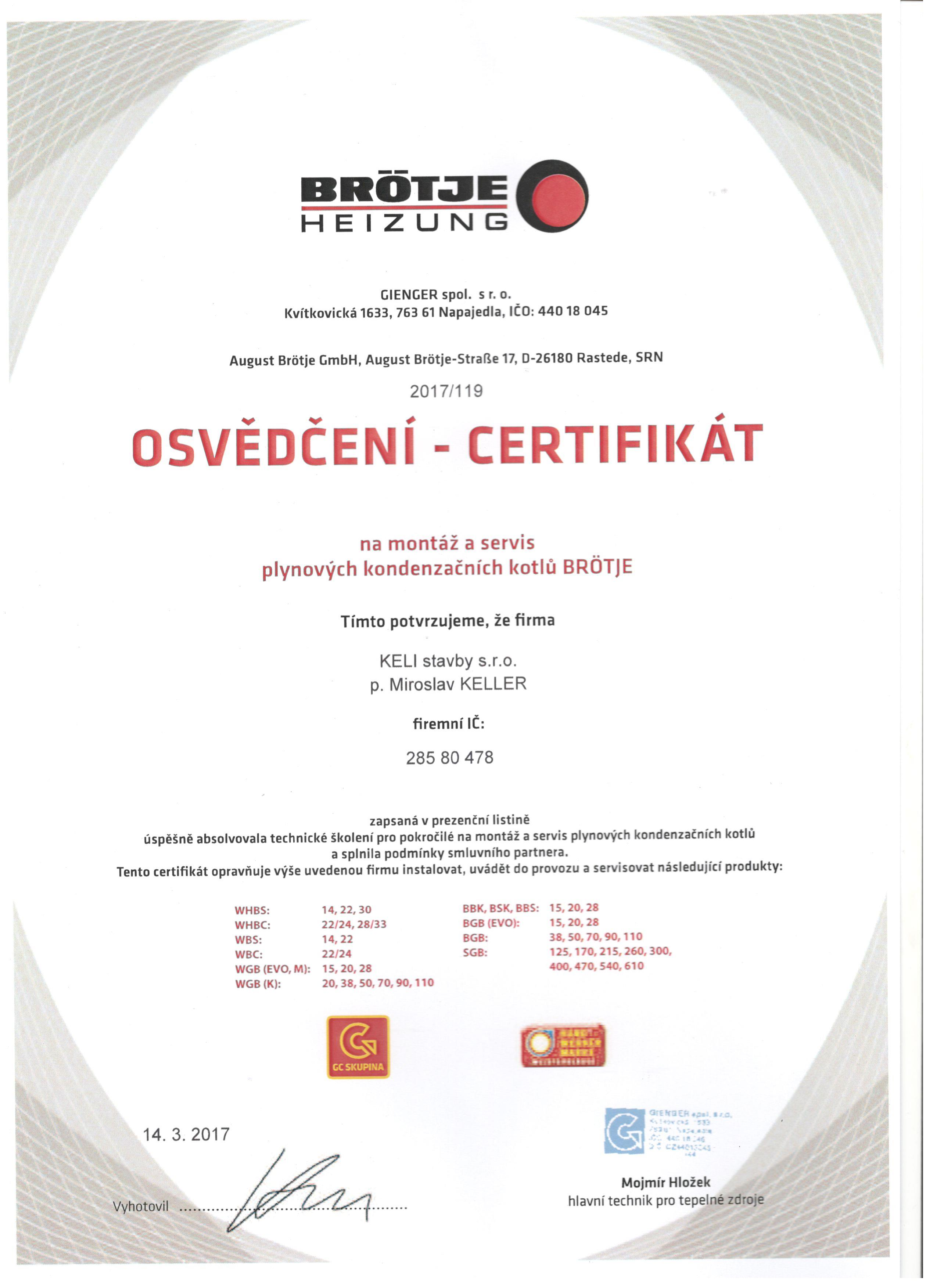Certifikát motáž a servis plynových a kondezačních kotlů BROTJE