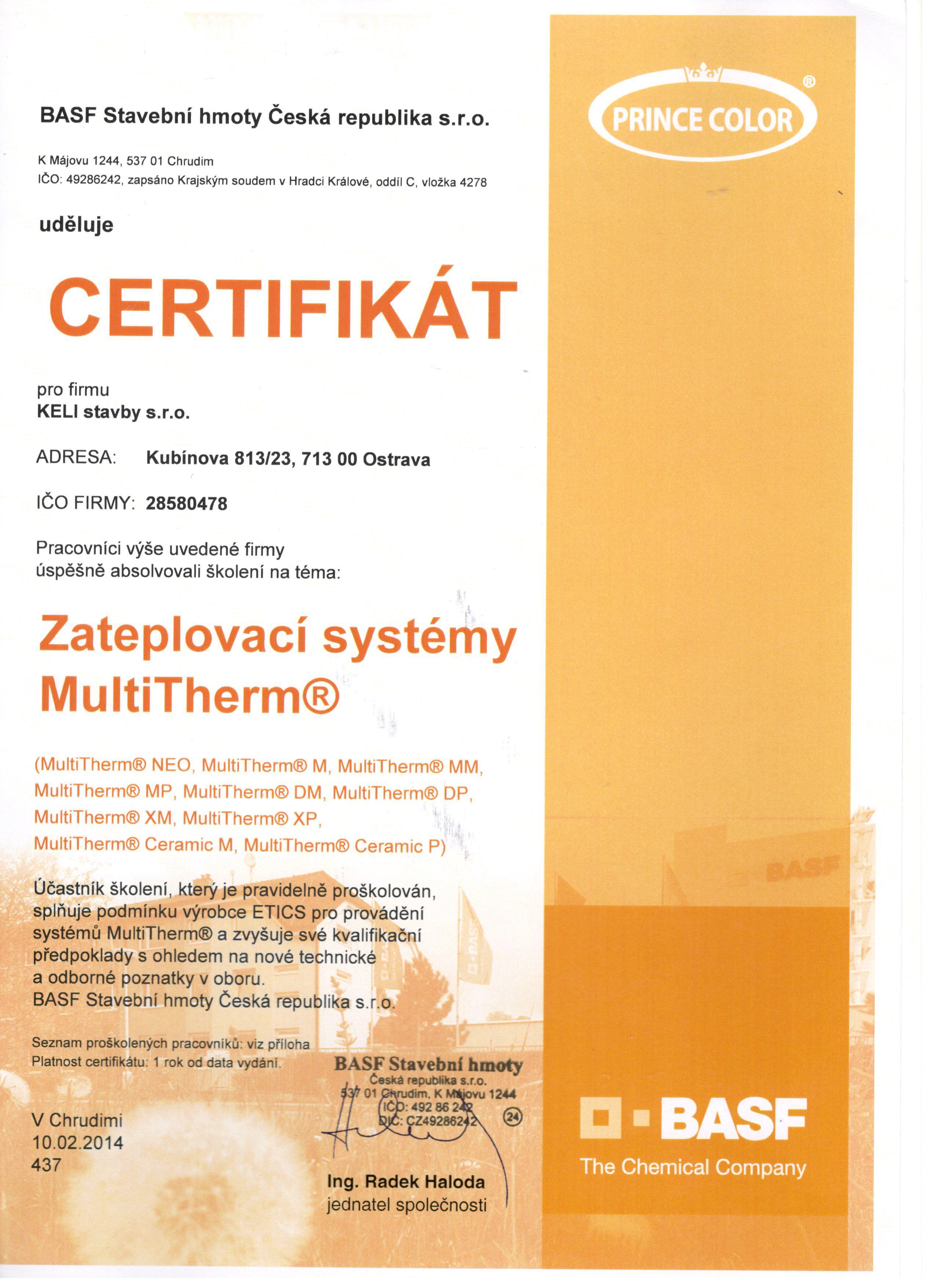 Certifikát zateplovací systémy Multitherm