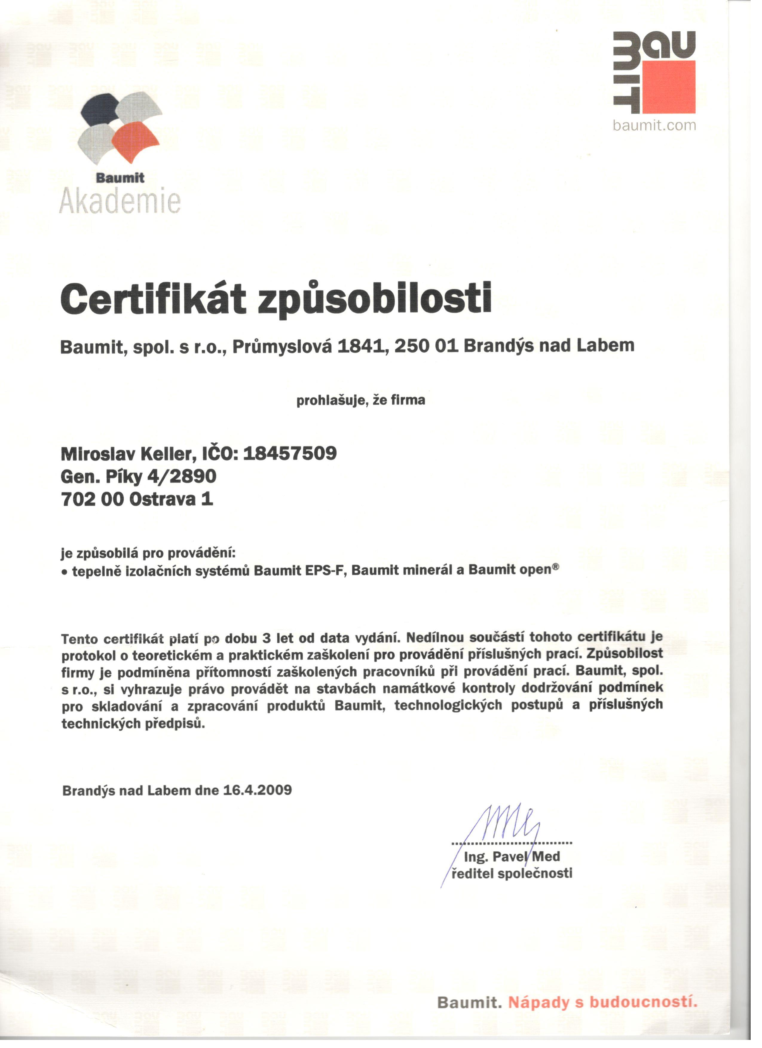 Certifikát způsobilosti Baumit